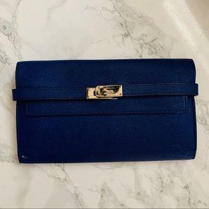 HERMÈS Kelly Epsom Bleu Encre Wallet